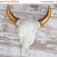 NEW YEARS SALE White / Gold / Cow Skull / Western Decor / Faux taxidermy / White Skull / Tribal / Anthropolgie /Texas Longhorn /Boho
