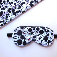 Mickey Mouse Sleep Mask, Disney Eyemask, Fleece or Satin Black Lined Night Shade, Adult Woman Teen Girl Kids Toddler, Eye Mask, Sleepmask