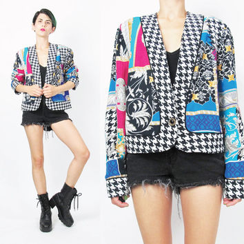 80s Houndstooth Print Blazer Vintage Mixed Print Cropped Bolero Jacket Baroque Colorful Multi Color Womens Blazer Cropped Jacket (M)