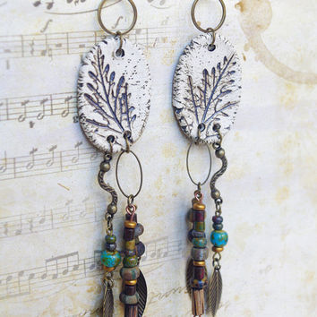 Long Gypsy ceramic dangle earrings Ethnic style jewelry Nature leaf earring - one of kind