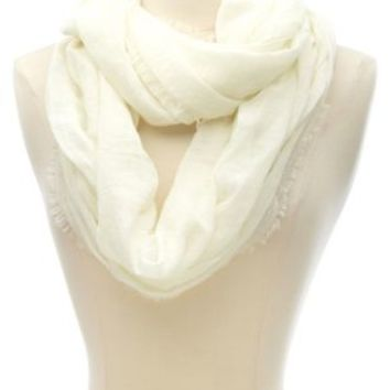 Solid Frayed Infinity Scarf by Charlotte Russe