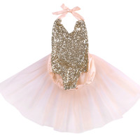 Amalie Pale Pink and Gold Sequin Baby Romper with Tulle Skirt