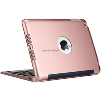 Luxury Wireless Bluetooth Keyboard For iPad Mini 2 3 Full Body Protective Portable Keyboard Case Stand Smart Cover Rose Gold