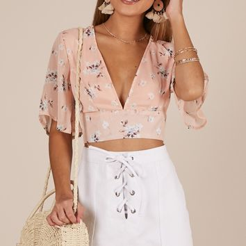 Live Sweetly top in blush floral Produced By SHOWPO