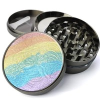 Rainbow Luminizer Pallette Deluxe Metal 5 Piece Herb Grinder With Fine Screen - The Best Kitchen Spice and Herb Grinder For Sale