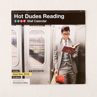 2017 Hot Dudes Reading Wall Calendar - Urban Outfitters