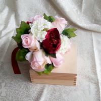 Silk flowers peony roses hydrangea vintage wedding bouquet blush pink burgundy Flowers, satin ribbon,  Bride, bridesmaids
