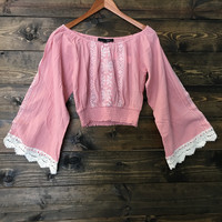 Sugar Lips Off the Shoulder Crop Boho Lace Top