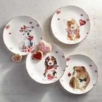 Valentine Puppies Salad Plate Set