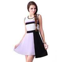 Casual Chiffon Asymmetrical Color Block Pleated Mini Dress