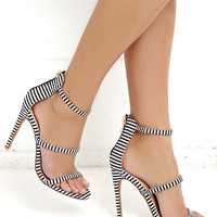 Three Love Striped Black and White Dress Sandals