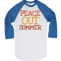 Peace Out Summer-Unisex White/Lake Blue T-Shirt
