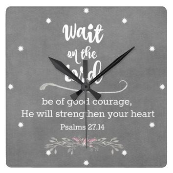 Inspirational Christian: Wait on The Lord Verse Round Wallclock