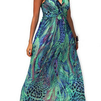 Green Peacock Print Halter Maxi Dress