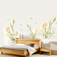Lily Floral Pattern Removable PVC Decal Wall Sticker