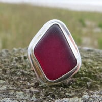Sea Ruby Sterling Silver Sea Glass Ring Red by Wave of Life
