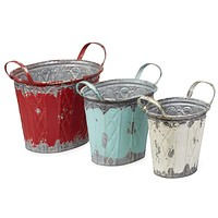 Distressed Style Galvanized Sheet Oval Planters, Multicolor (Set of 3)