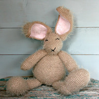 Crocheted stuffed bunny rabbit Collectables Gifts Fluffy soft toy animals Childrens kids baby toys #Handmade Nursery decoration Home decor