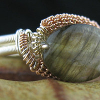 SIZE 8.5 Rose Gold Silver Wire Wrapped Ring Copper Labradorite USA