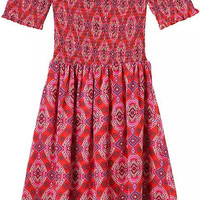 Off The Shoulder Vintage Inspired Print Pleated Red Dress