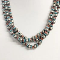 Sunwest Jewelry~ Navajo Pearls w/ Turquoise and Coral Beads Necklace
