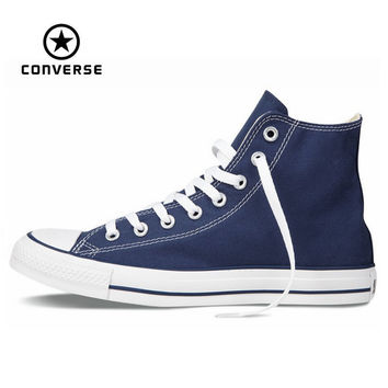 Original Converse all star shoes high men women's sneakers canvas shoes High blue classic Skateboarding Shoes