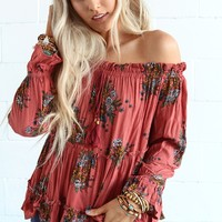 Double Dare Floral Off The Shoulder Top - Floral Marsala