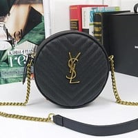 YSL Yves Saint laurent new letter buckle zipper round cake bag shoulder bag messenger bag