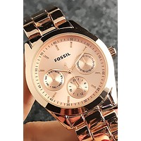 FOSSIL Tide brand personality fashion simple men and women models quartz watch Rose gold