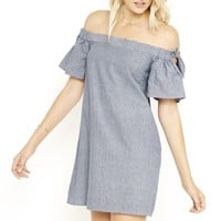 Accompany Me Off The Shoulder Chambray Dress