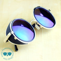 Leather Side Sunglasses - Round Metal Aviator Awesome Eyewear {Green Lenses}