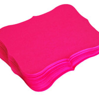 100 Hot Pink Flat Bracket Paper Cardstock Cards 3 x 2.5 -Top Notes, Escort Cards, Invitations or Favor Tags, Weddings