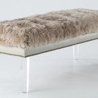 Luxe Brown Sheepskin Fur Lucite Bench