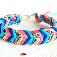 Carnival Candy - Peachy Keen, Neon Pink, Capri Blue & Rich Navy - Chevron Braided Modern Friendship Bracelet - Silver Chain