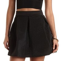 Gingham Organza Skater Skirt by Charlotte Russe