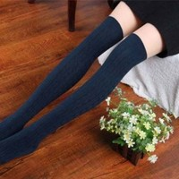 Cable Knit Over Knee Winter Socks 8 Lines Thigh-Highs Hose Stockings Girl Women