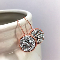 Silver Druzy French Lever Back Earrings / Rose Gold Plated