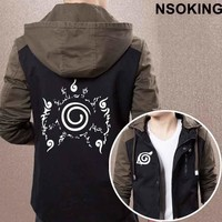 Naruto Sasauke ninja New Spring Autumn  Hoodie Anime  Uzumaki Cool Coat Men zipper Jacket AT_81_8