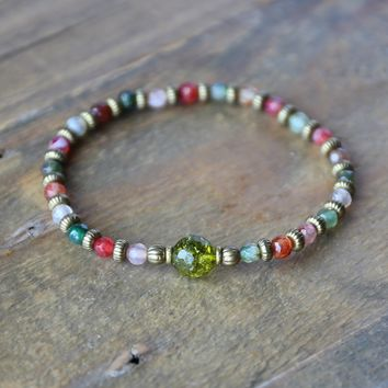 """Tourmaline Agate and Peridot Fine Faceted """"Good Luck"""" Bracelet"""