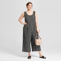 Women's Plus Size Striped Jumpsuit - Xhilaration™ Black/White