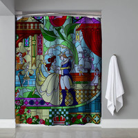 """Cheap Beauty And The Beast Stained Glass Exclusive Design Shower Curtain 60""""x72"""""""