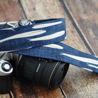 dSLR Camera Strap - Happy Little Whales - Rustic Navy Blue Camera Strap