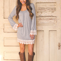 Crochet Sleeve Tunic- Grey