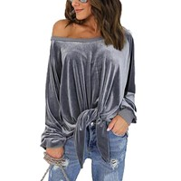 Women Long Sleeve Velvet Blouse Casual Off Shoulder knotted Loose Bandage Blusas Velour Shirt Top Plus Size Femme Clothes GV521