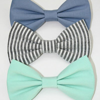 The Blues Hair Bow Set or Bow Tie Set - Mint Green, Chambray and Blue Striped Bows - 3 Bow Set