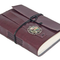 Vegan Burgundy Faux Leather Journal with Steampunk Cameo Bookmark
