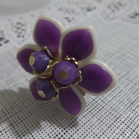 Lavender Flower Ring Recycled Vintage Brooch Adjustable Ring Silver