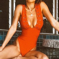 Fashion Summer New Solid Color Wading Sports Swimsuit Vest One Piece Bikini  Red