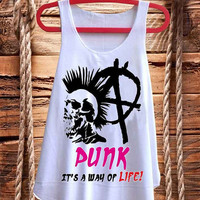 Punk It's a way of Life Anarchy Skull best design for Tank top mens and Tank top Girls fashion