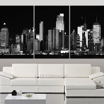 Large Wall Art Canvas Print New York City Landscape Black and White Contemporary 3 Panel Triptych